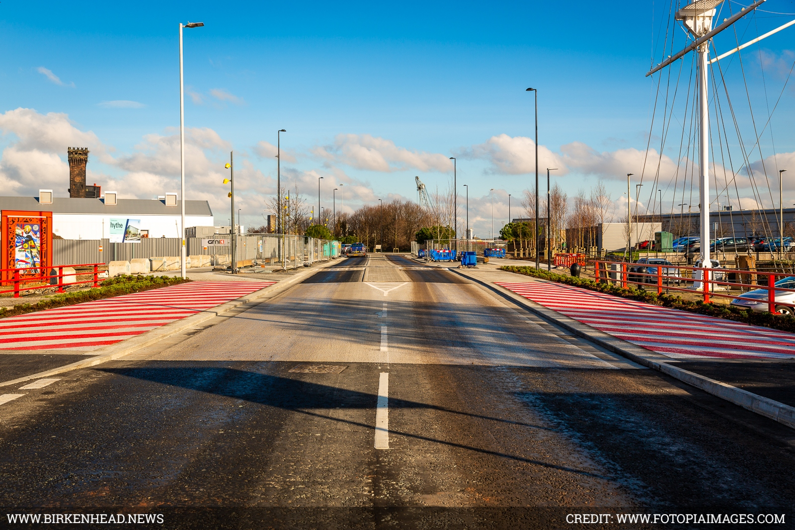 Tower Road - carriageways have been narrowed, allowing for wider pavements